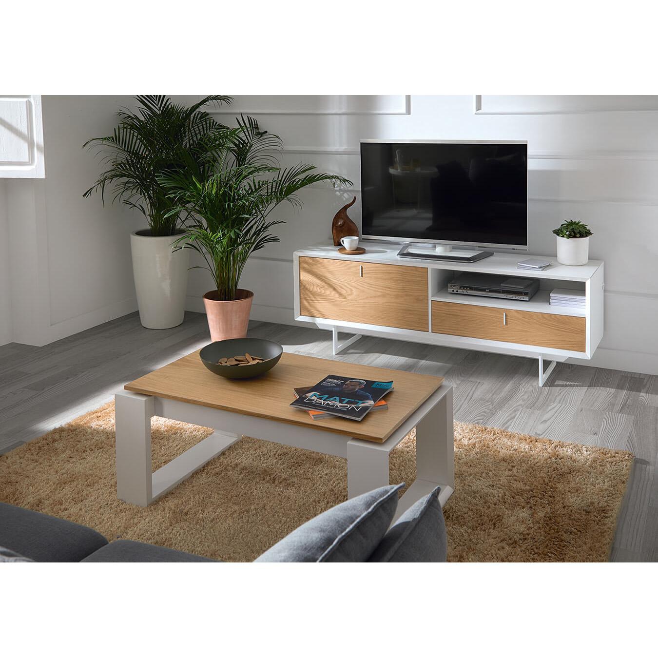 Móvel TV Porto, MDF lacado/madeira de carvalho, 165x40x58