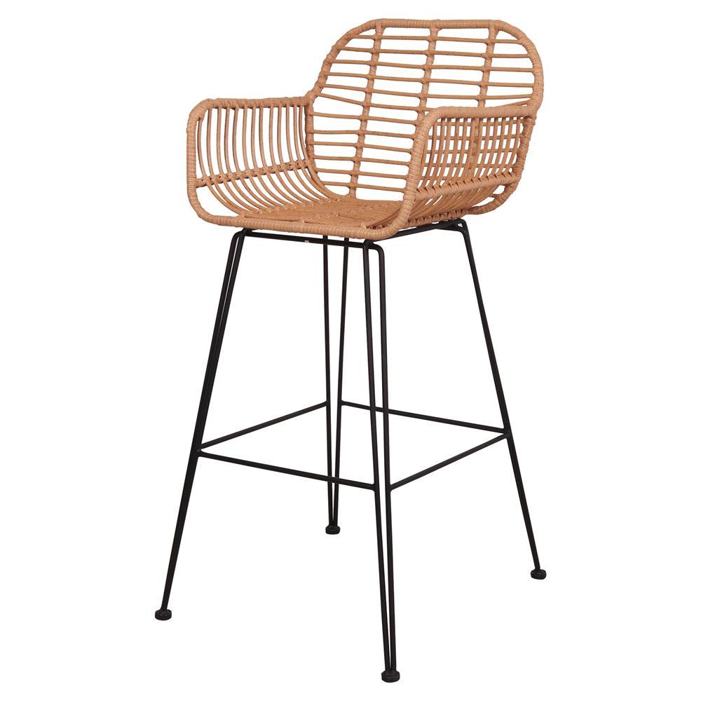 Cadeira de bar Otime, rattan sintético/metal, 53x58x75