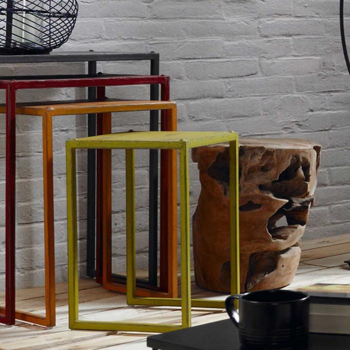 Mesa de apoio Tropic, madeira teca natural, Ø35x35
