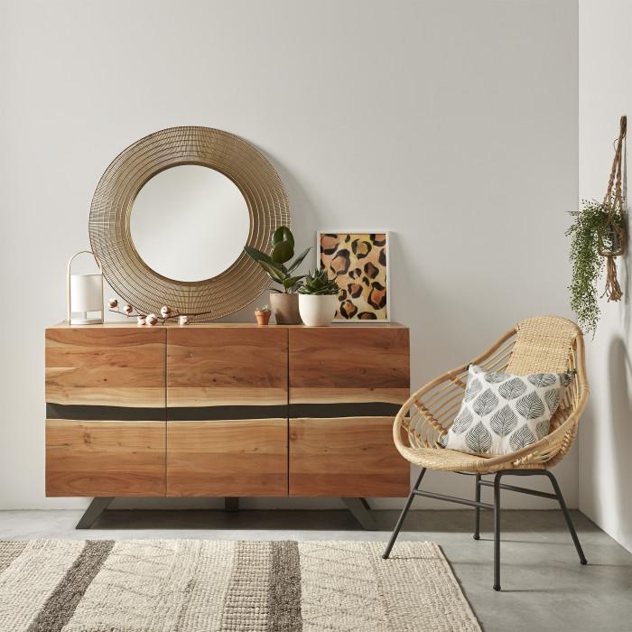 Aparador Ixia, madeira de acácia natural, 148x43x85