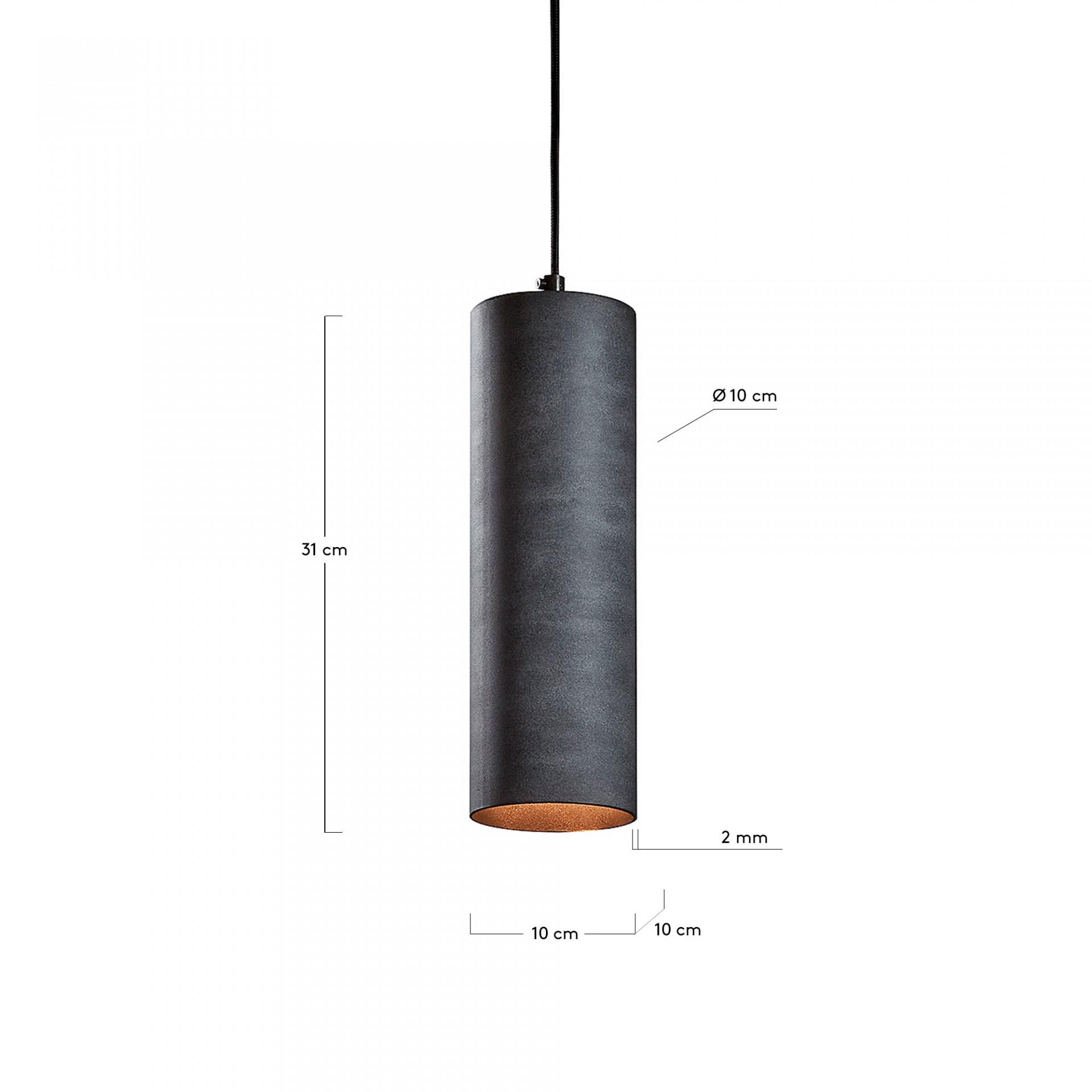 Candeeiro de tecto Tube, metal, cinza, Ø10x31