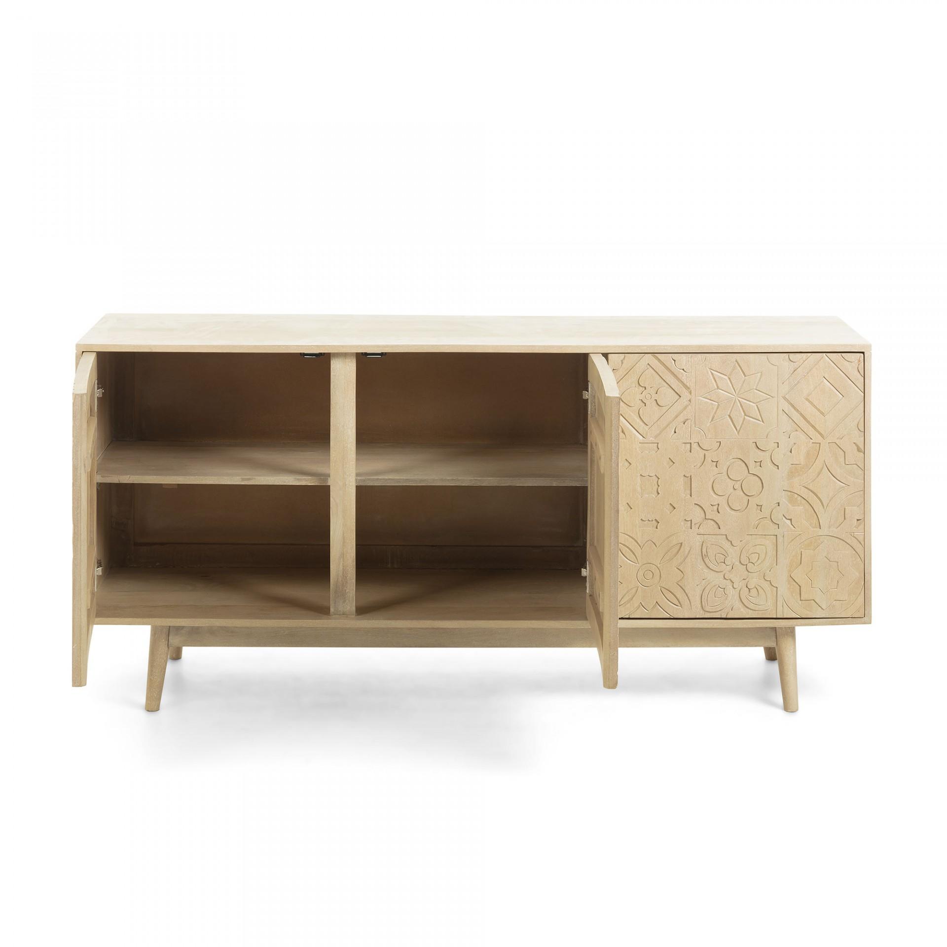 Aparador Selab, madeira de manga natural, 162x45x75