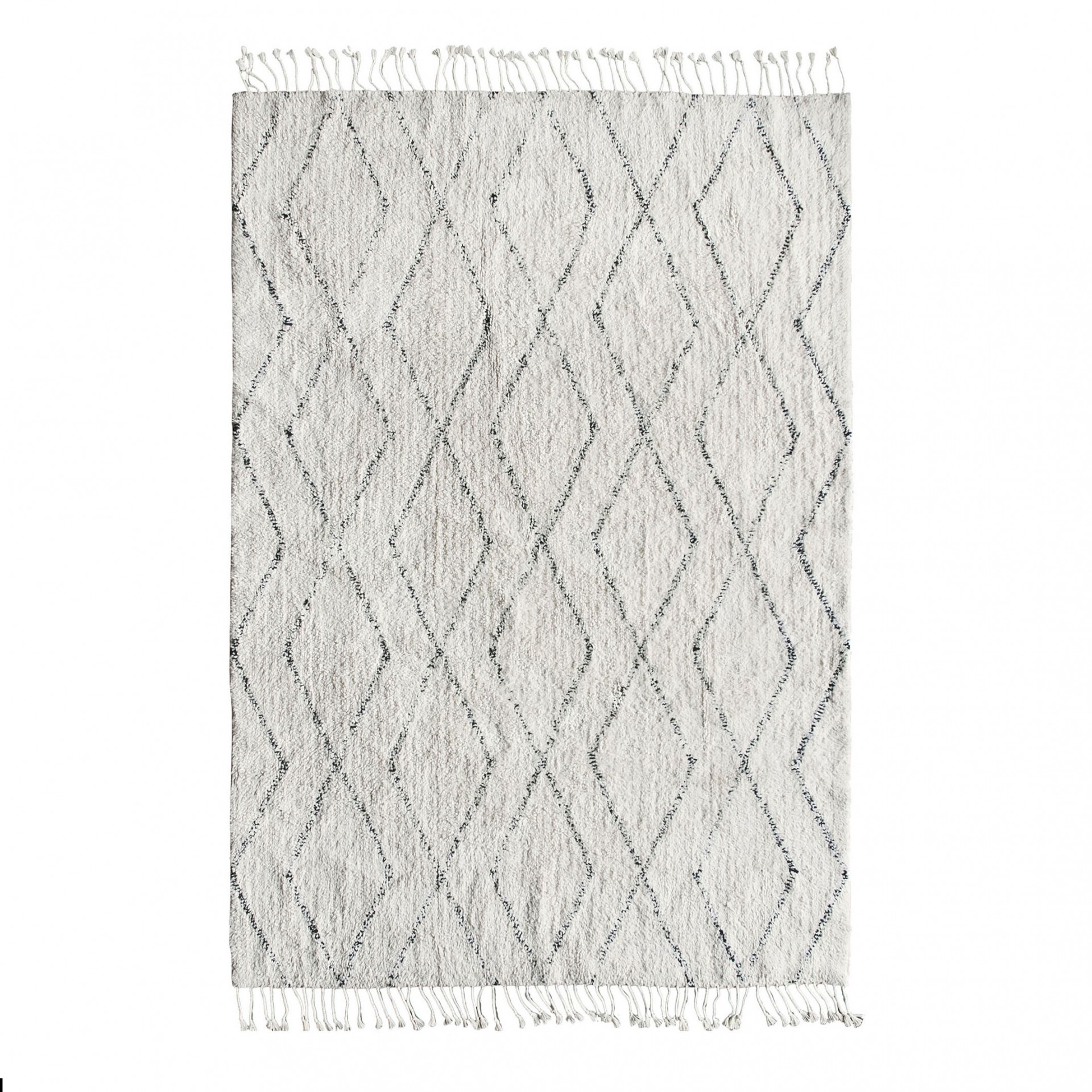 Tapete c/franjas, algodão, branco/preto, 200x140
