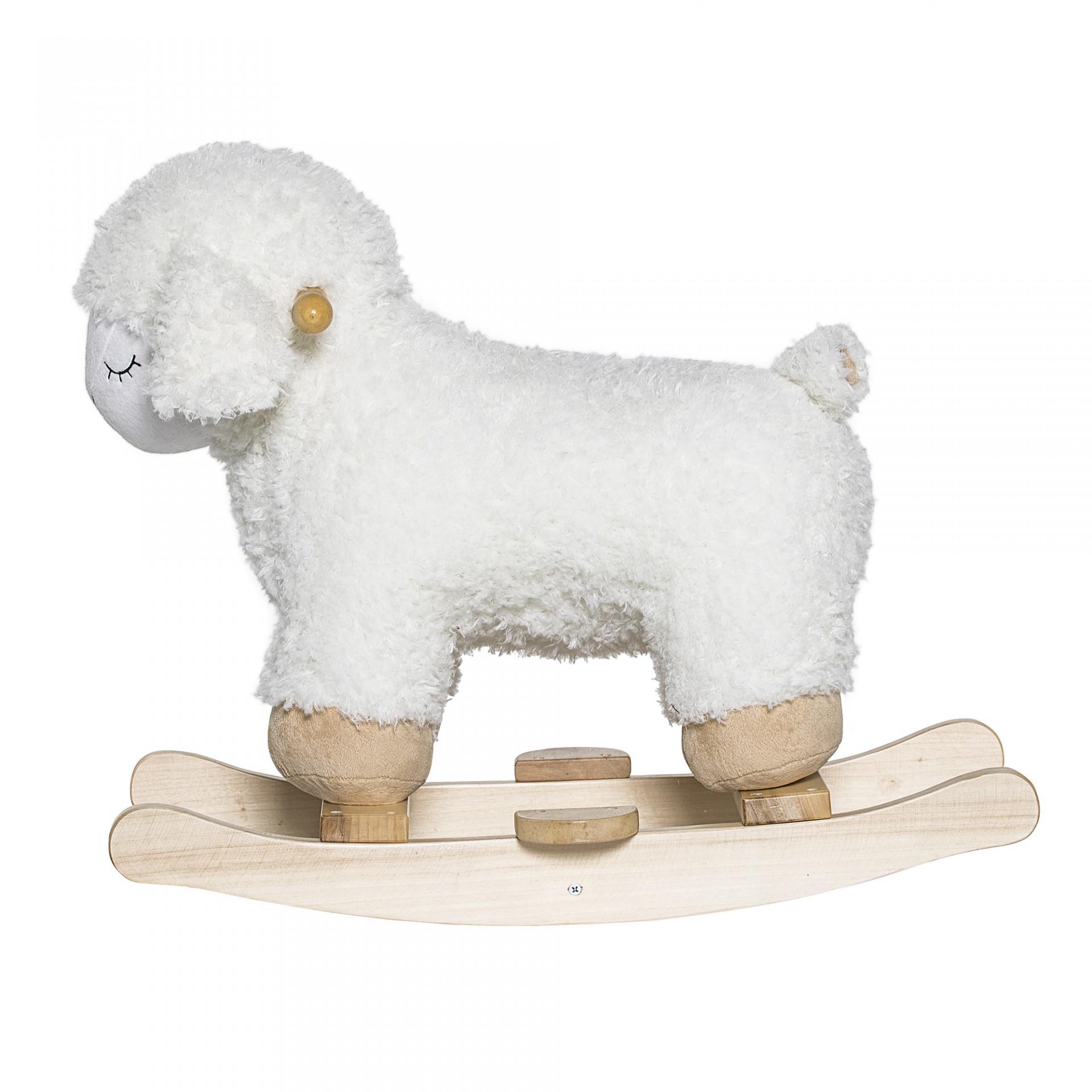 Ovelha de baloiço, poliéster/madeira, branco