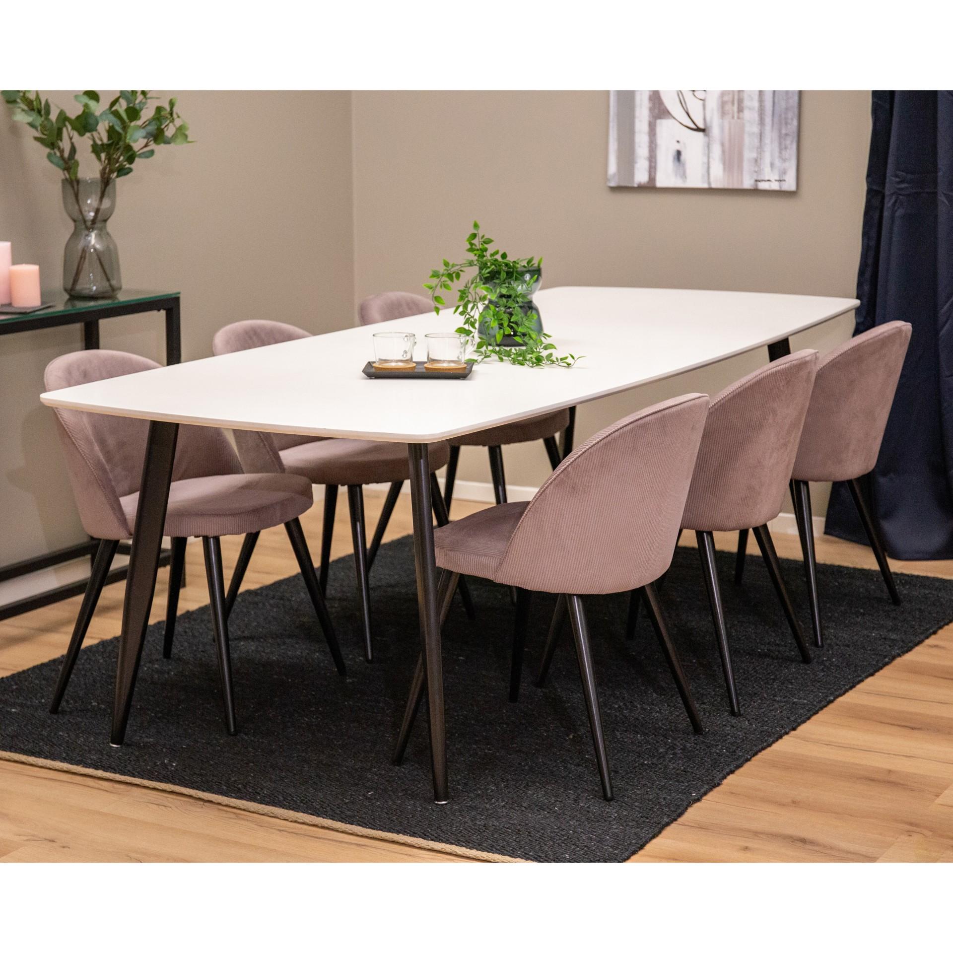 Mesa de jantar Polar, MDF/metal, branco/preto, 240x100