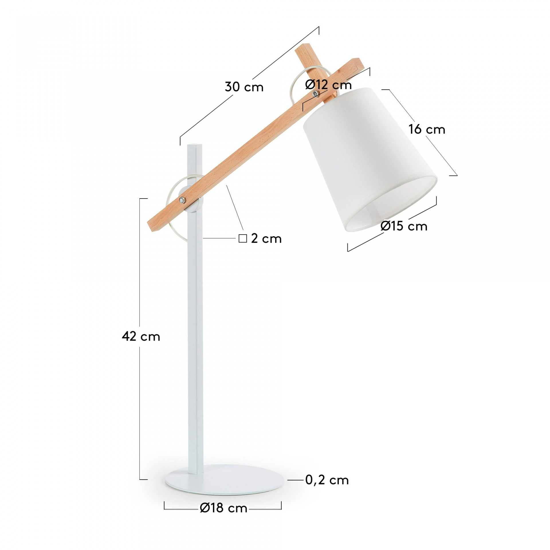 Candeeiro de mesa Zovik, madeira/metal, branco