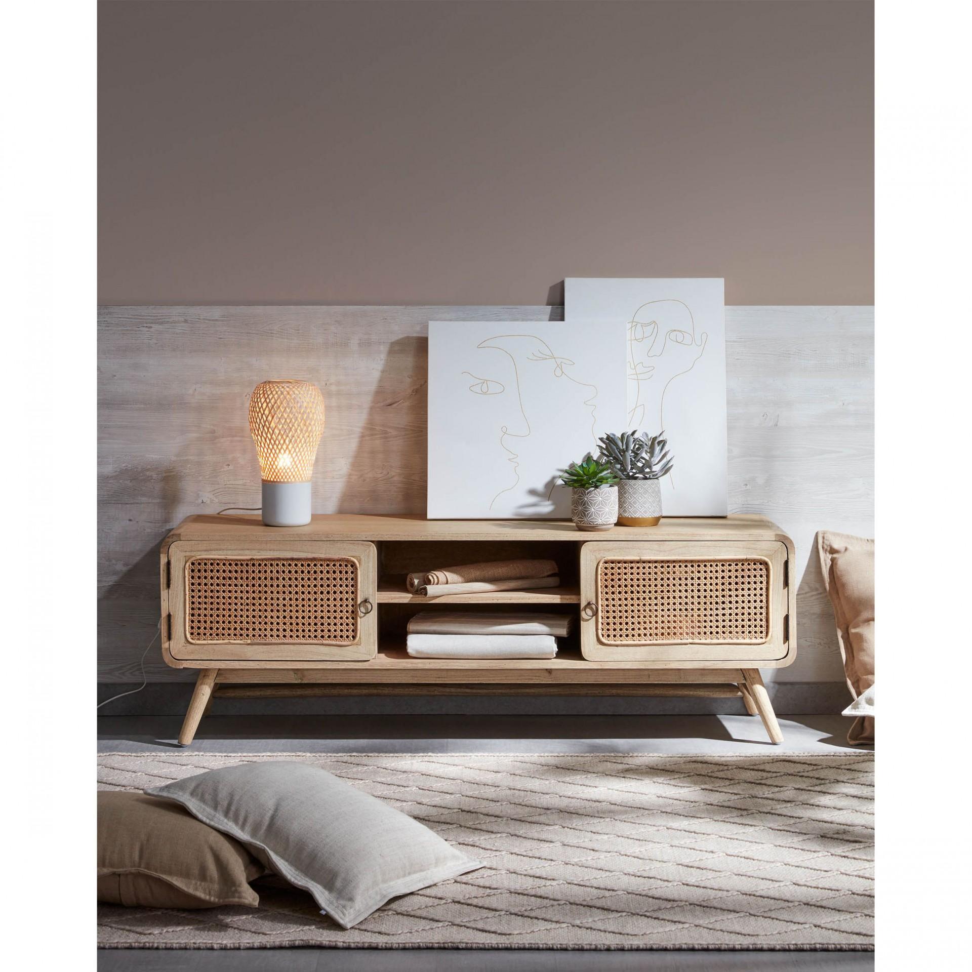 Candeeiro de mesa Aurora, bambu/metal, Ø18x34