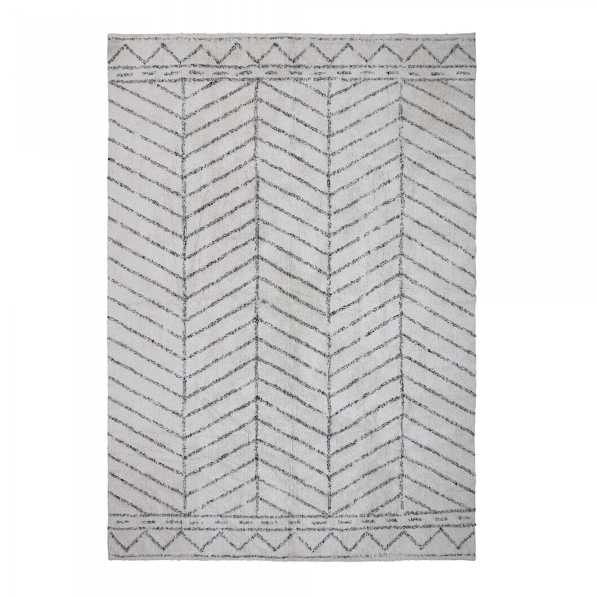 Tapete Berbere, algodão, branco/preto, 300x200