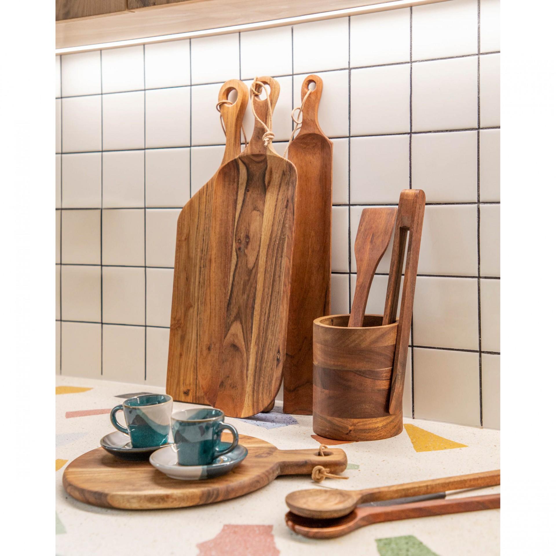 Porta utensílios Nilia, madeira de acácia, Ø12x15