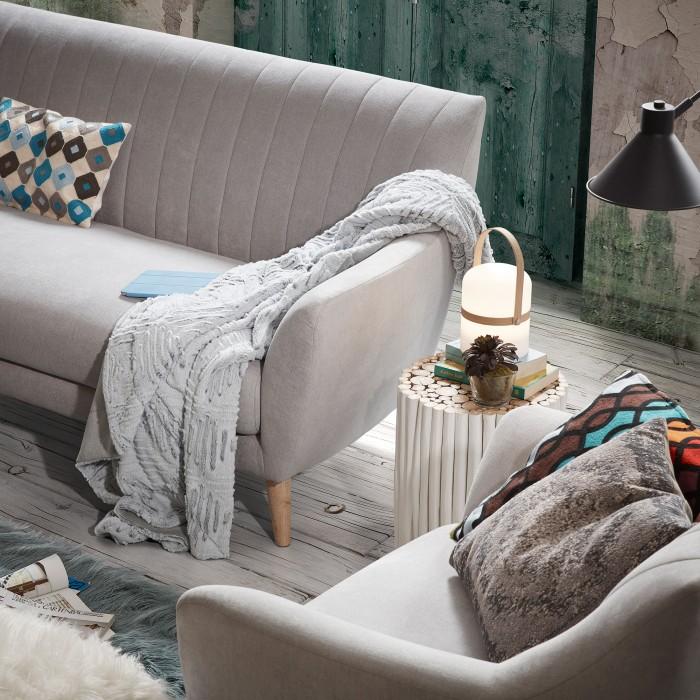 Mesa de apoio Filpo, madeira teca, branco, Ø35x40
