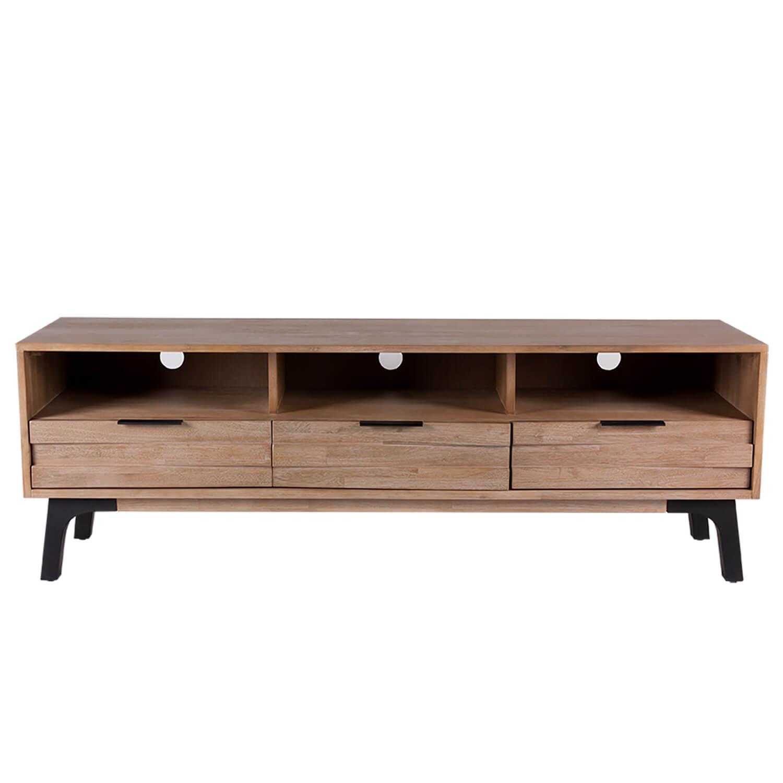 Móvel TV Amsterdam, madeira de acácia natural, 165x55