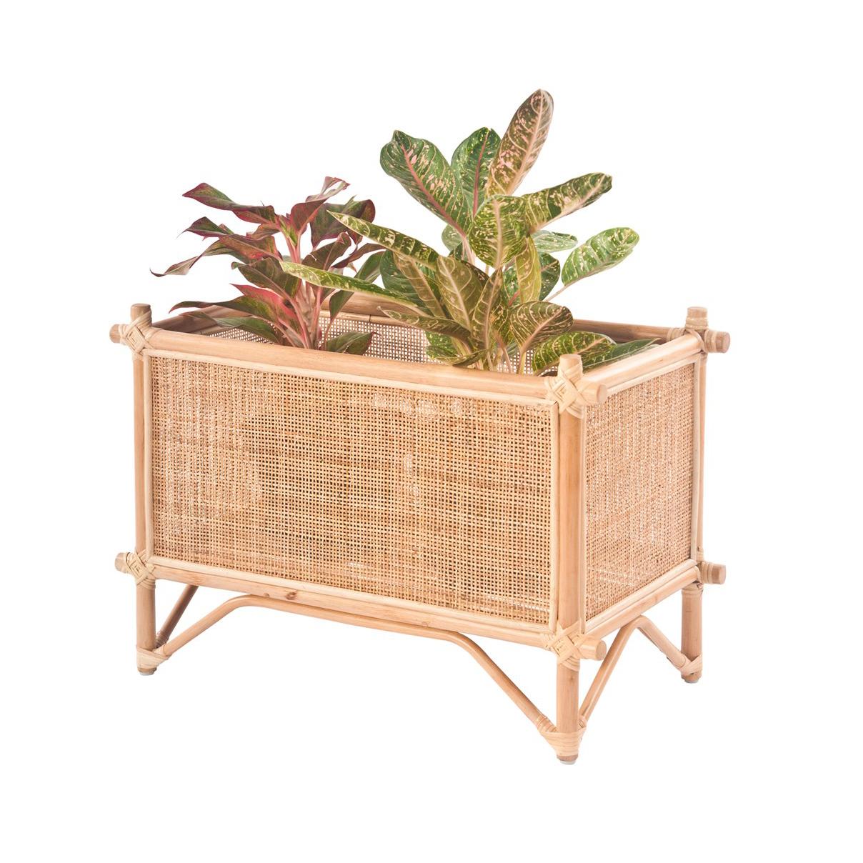 Floreira rectangular, bambu/rattan natural