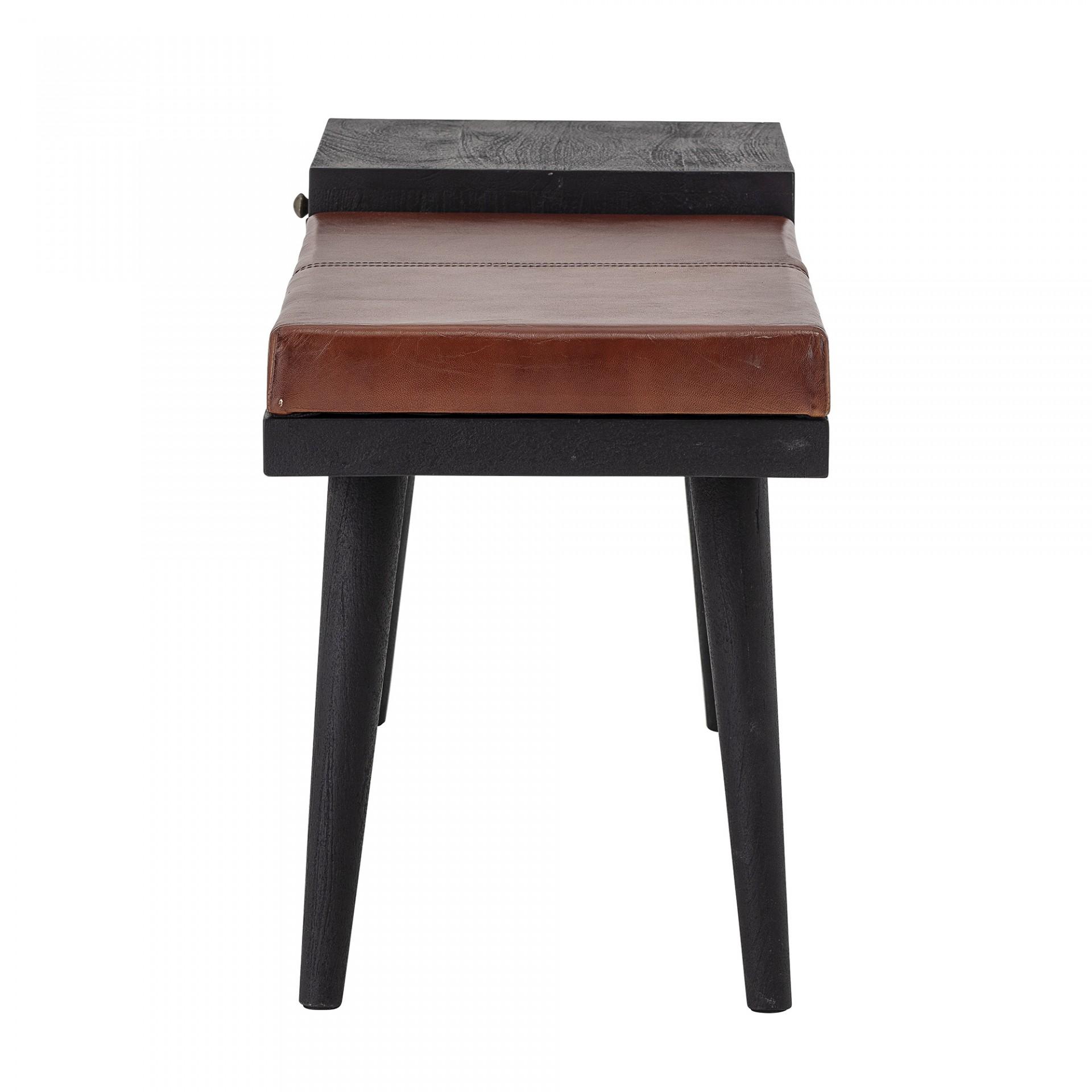 Banco de entrada Filucca, madeira de manga/couro natural