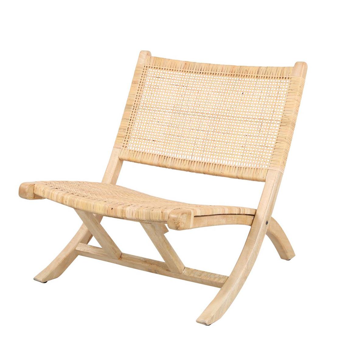 Cadeira Bergo, dobrável, madeira manga/corda de algodão