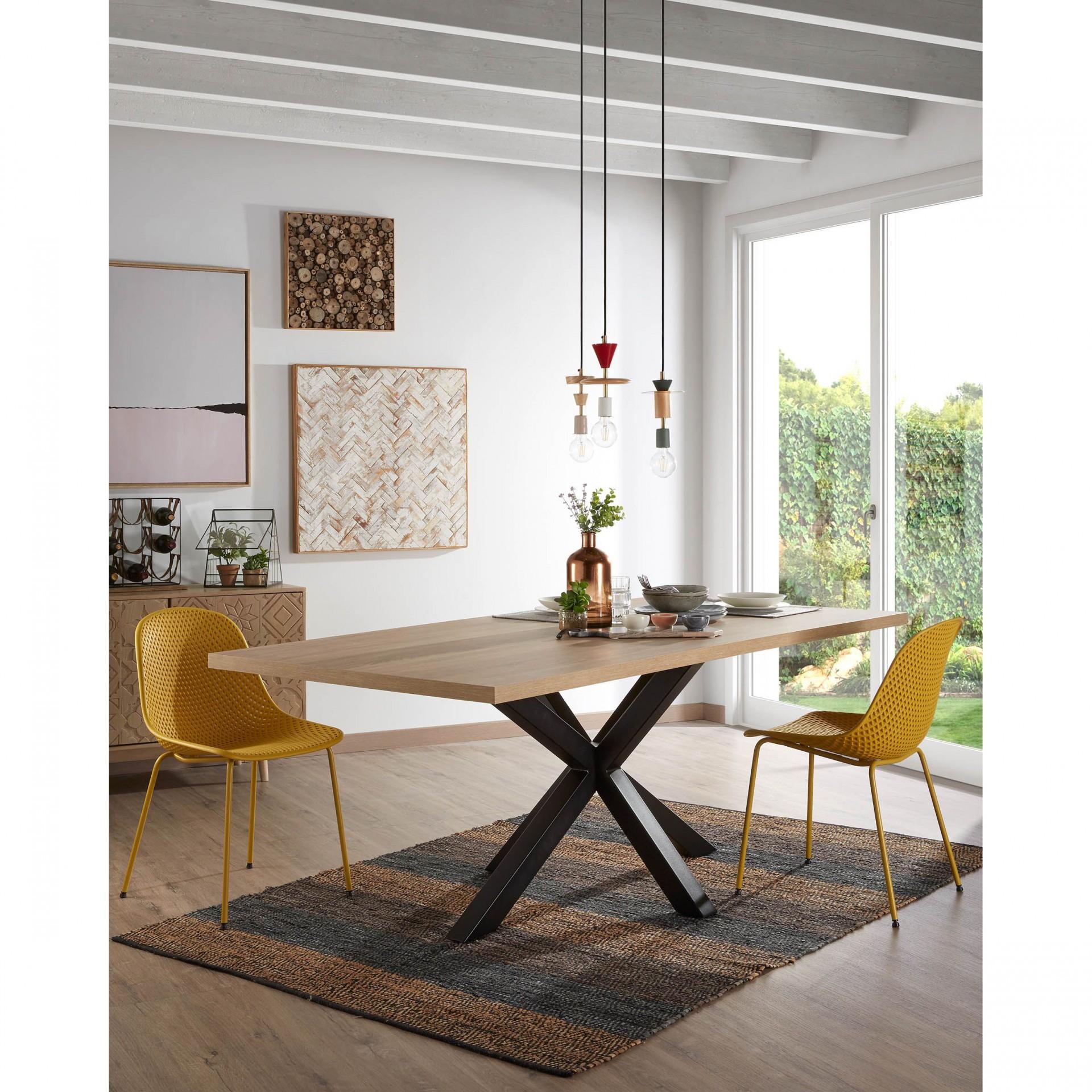 Mesa de jantar Arge, melamina/metal, preto