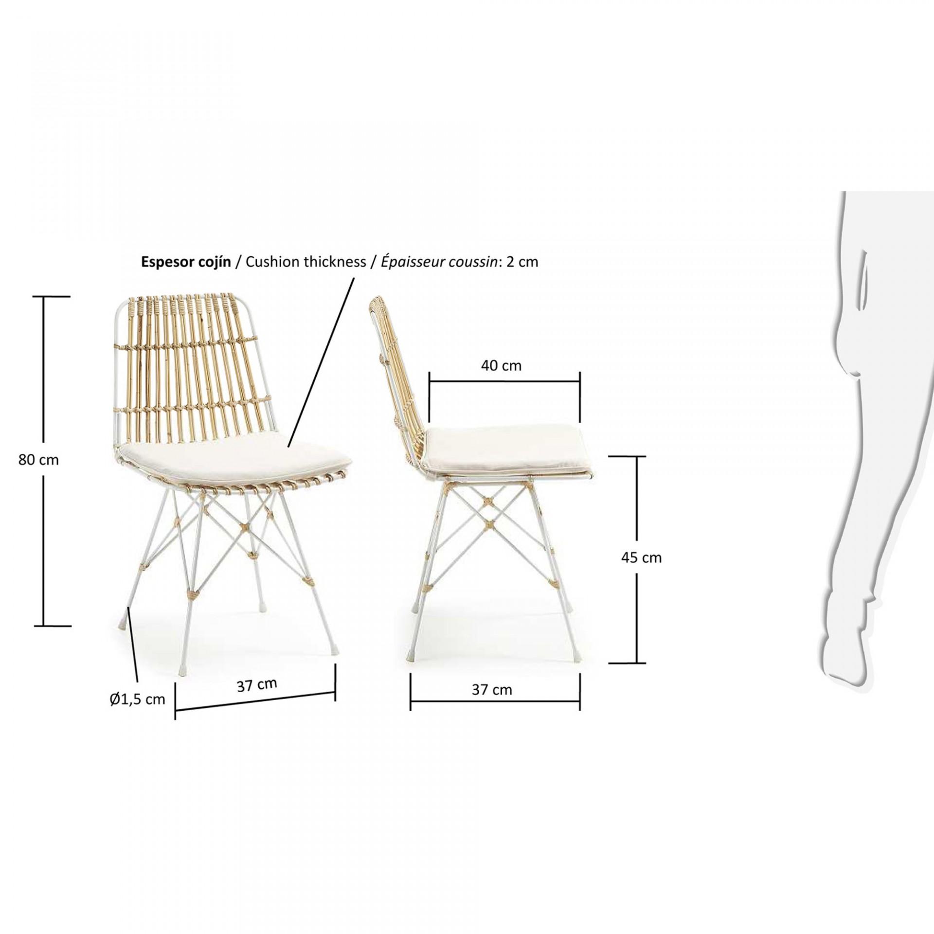 Cadeira Isla, c/almofada, vime/metal, 47x54x80