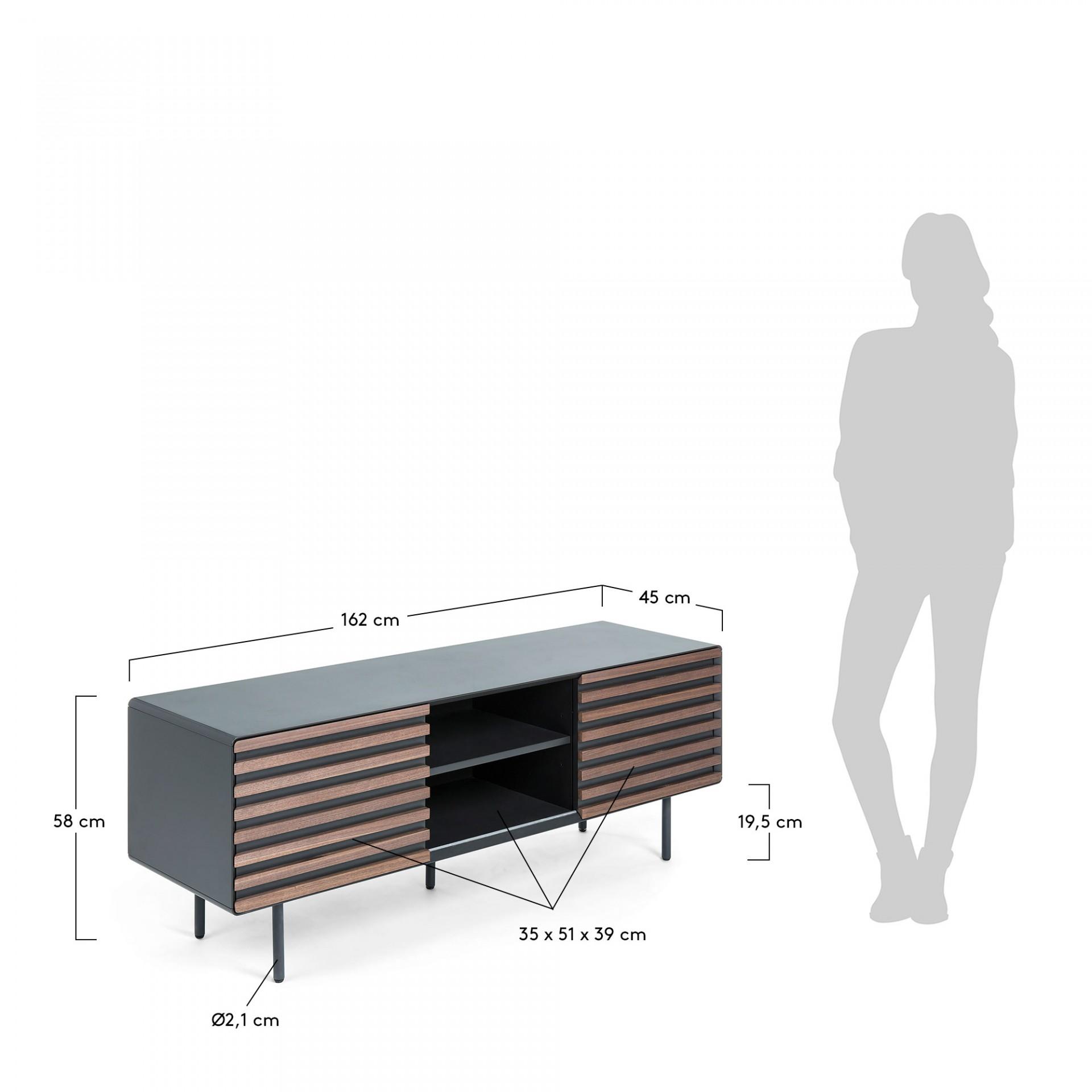 Móvel TV Kasia, MDF lacado/madeira de nogueira, 162x58