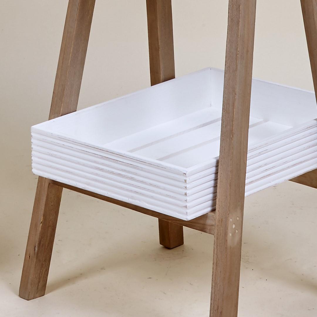 Estante Scada, madeira natural, branco, 38x89