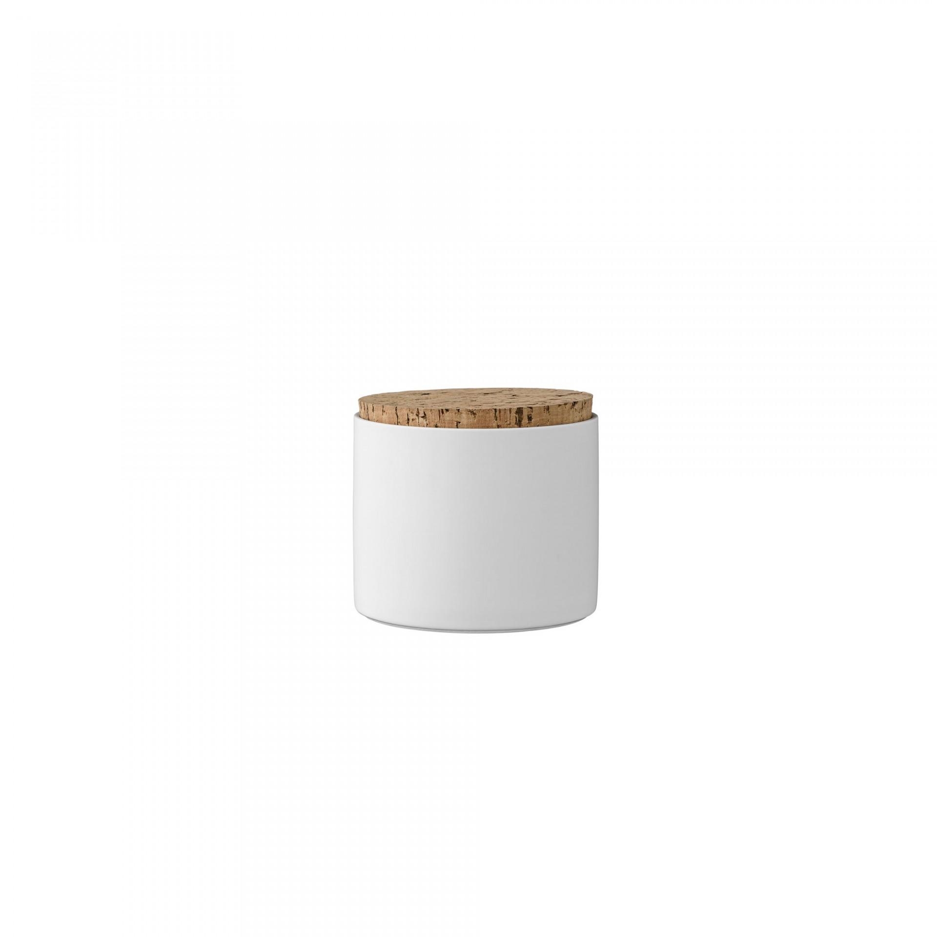 Pote em porcelana c/tampa de cortiça, branco, Ø11x12