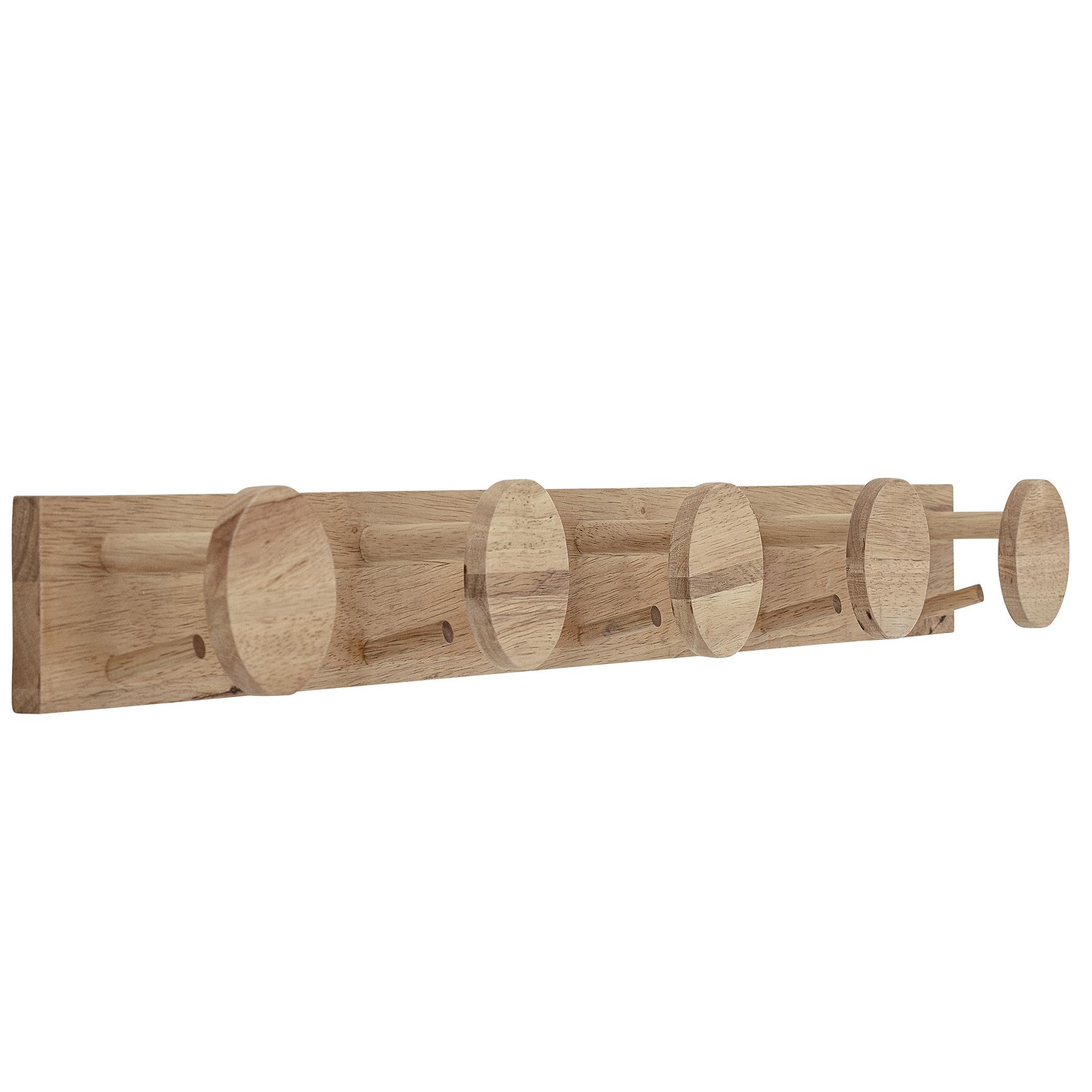 Cabide de parede, madeira de seringueira, 90x9