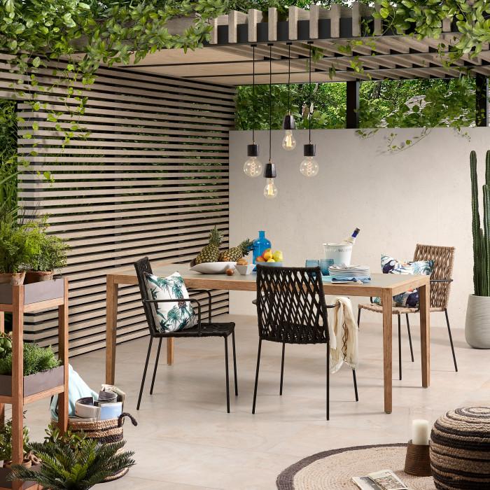 Mesa de jantar Vetel, poli-cimento/madeira de acácia