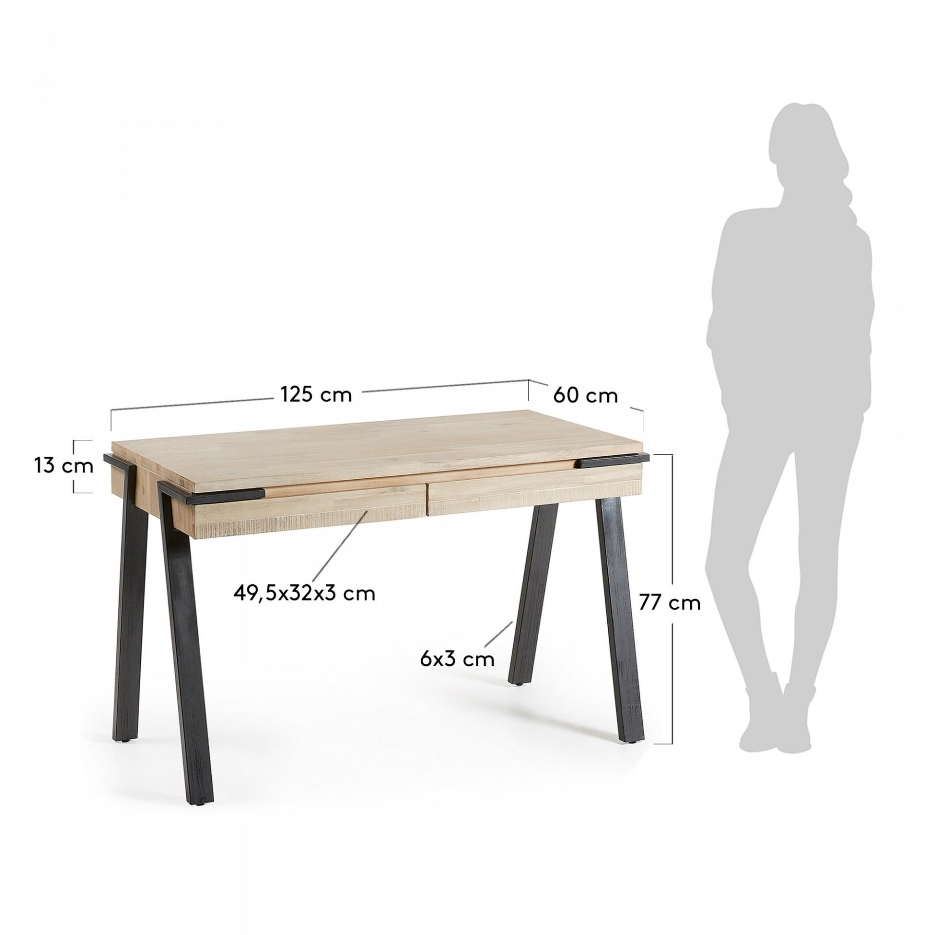 Secretária Tinn, madeira de acácia natural, 125x77