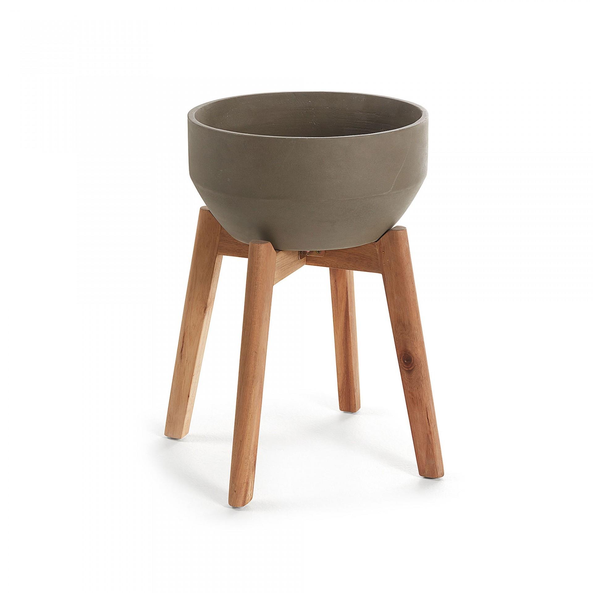 Vaso cerâmica/madeira de acácia, castanho, Ø28x46