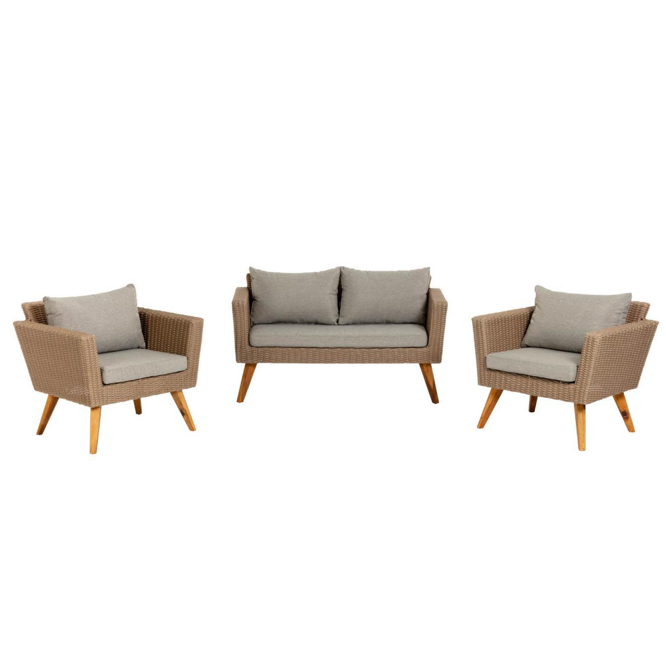Conjunto Zummer, 1x sofá, 2x cadeirões, vime sintético, cinza