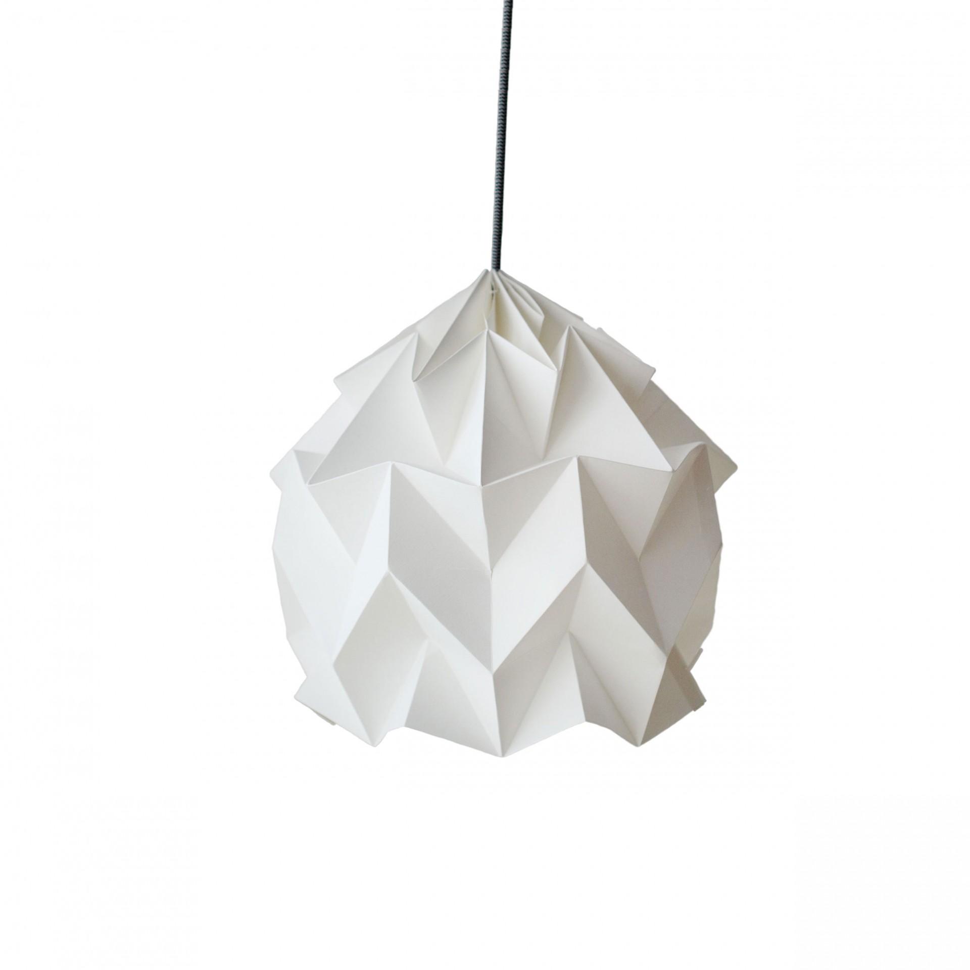 Abajur de papel Origâmi, modelo Luzada, branco