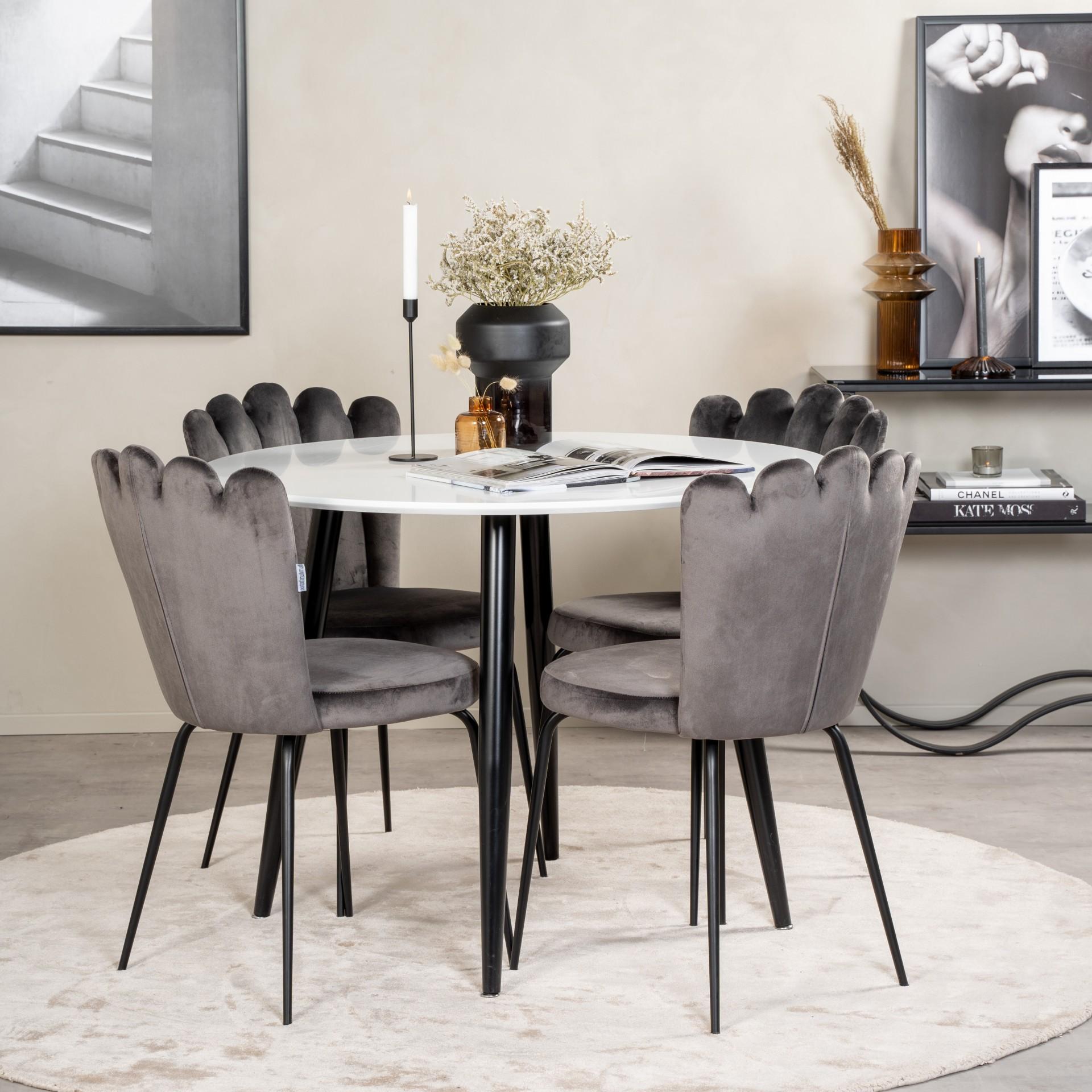 Mesa de jantar Plaza, MDF/metal, branco/preto, Ø100x75