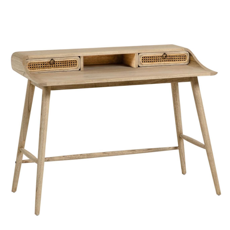 Secretária Kalú, madeira de mindi/rattan, 110x86