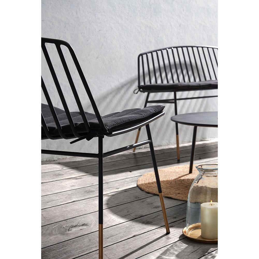 Cadeira Sina, metal, preto/dourado