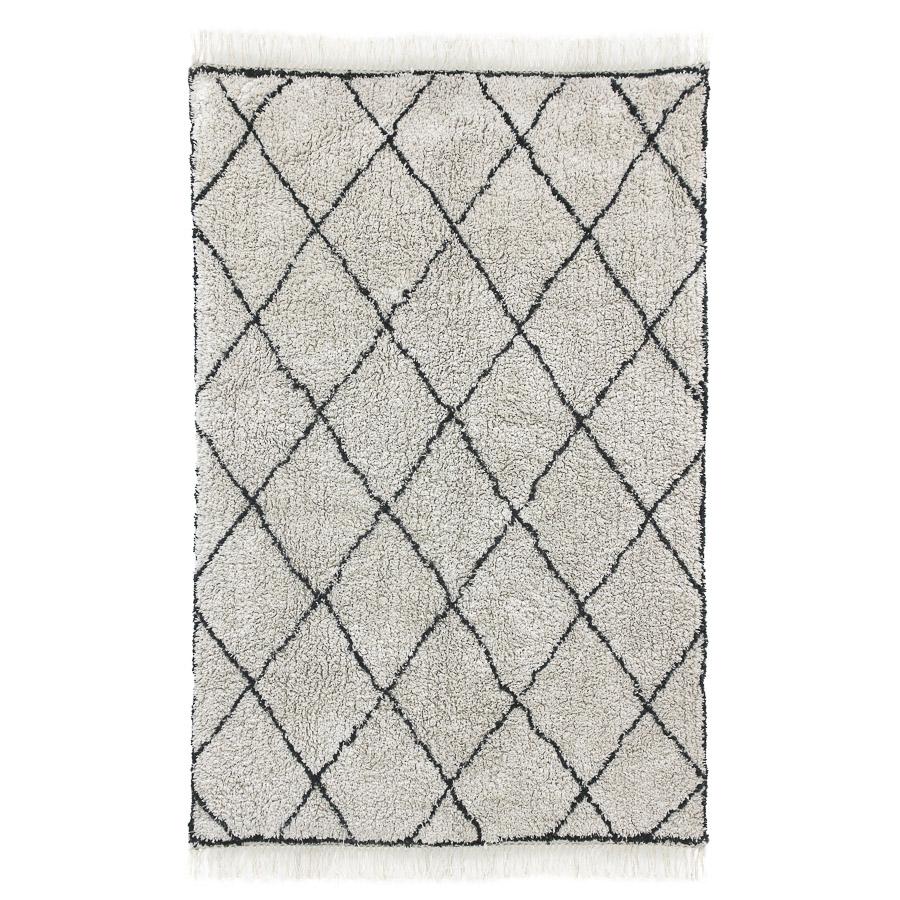Tapete Berbere, algodão, branco/preto, 180x120