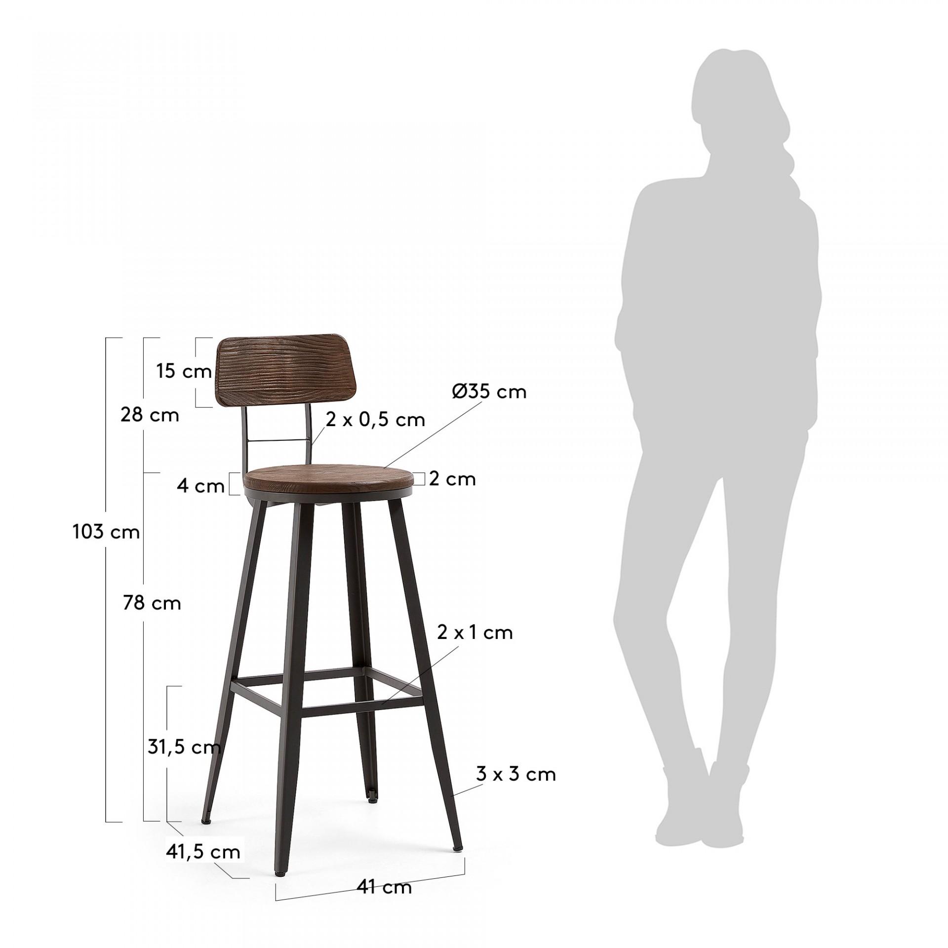 Cadeira de bar Matilde, madeira de olmo, 78cm