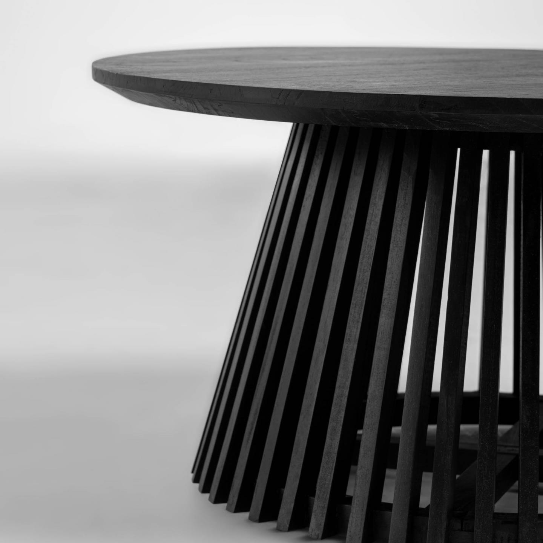 Mesa de centro Janette, madeira de mindi, preto, Ø80x40