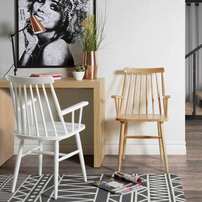 Cadeira Tisea, c/braços, madeira de seringueira