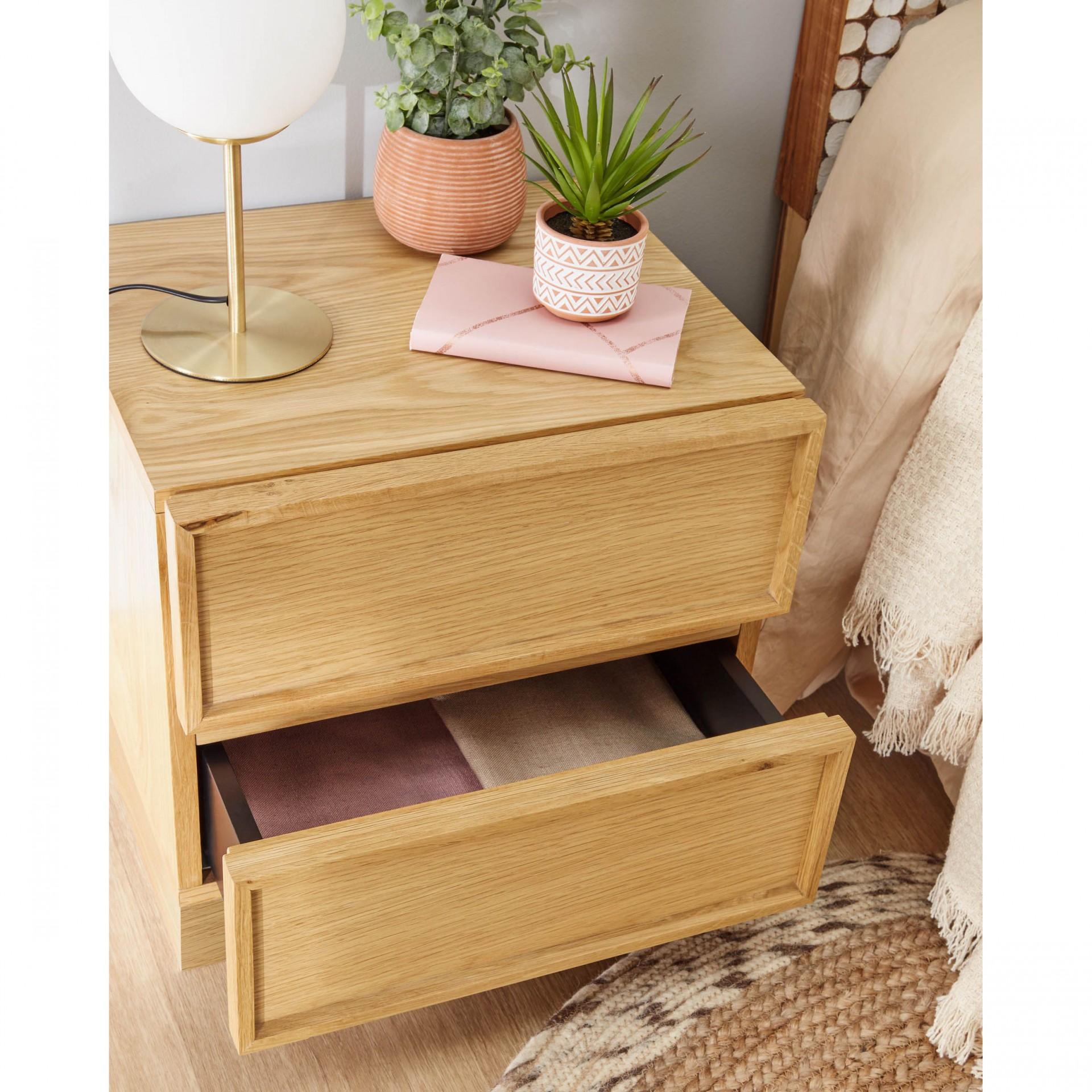 Mesa de cabeceira Taia, madeira de carvalho, 45x42x44