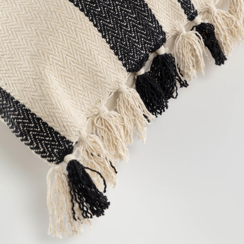 Capa de almofada Brafi, c/franjas, bege/preto, 45x45