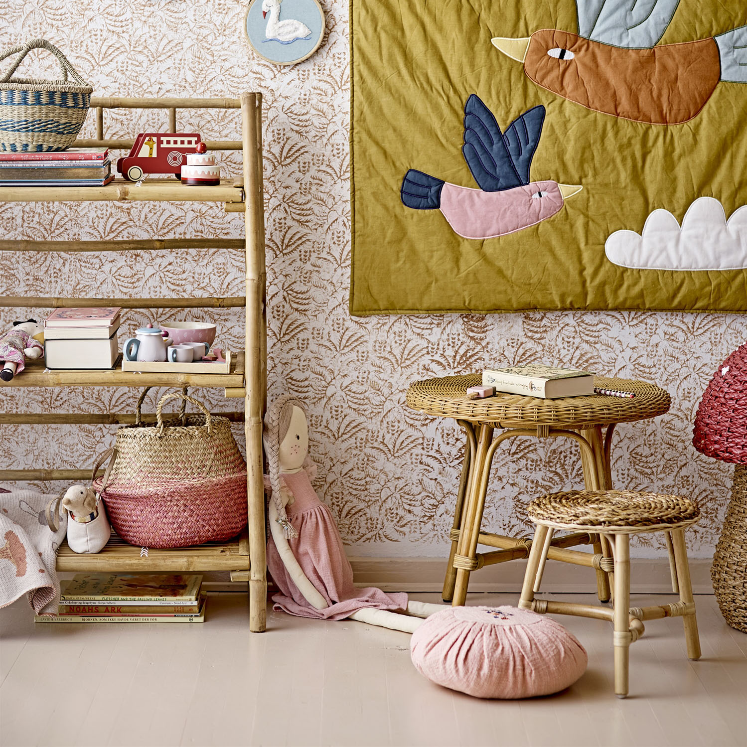 Mesa de centro infantil, rattan natural