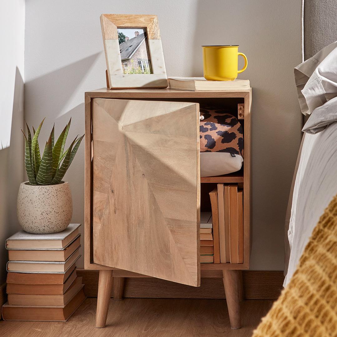 Mesa de cabeceira Sara, madeira de manga natural, 42x60