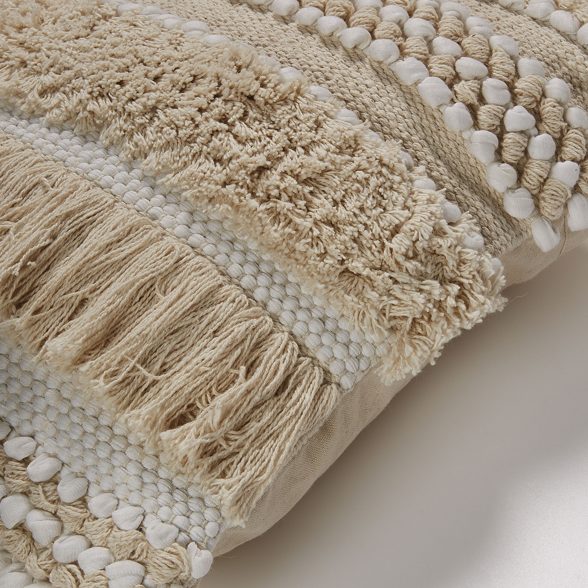 Capa de almofada Fyna, c/franjas, bege/branco, 45x45