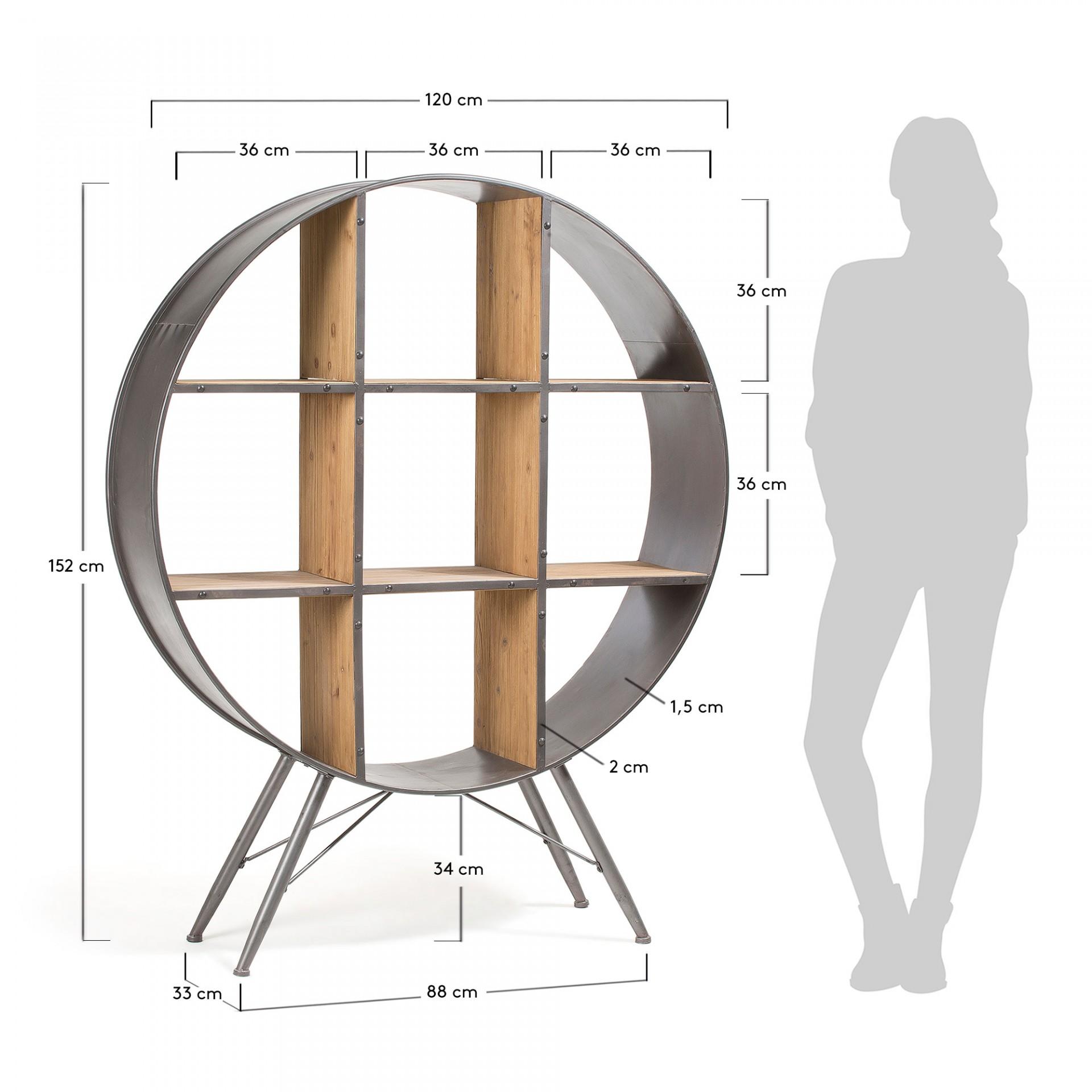 Estante Haly, madeira de abeto/metal, Ø120x152