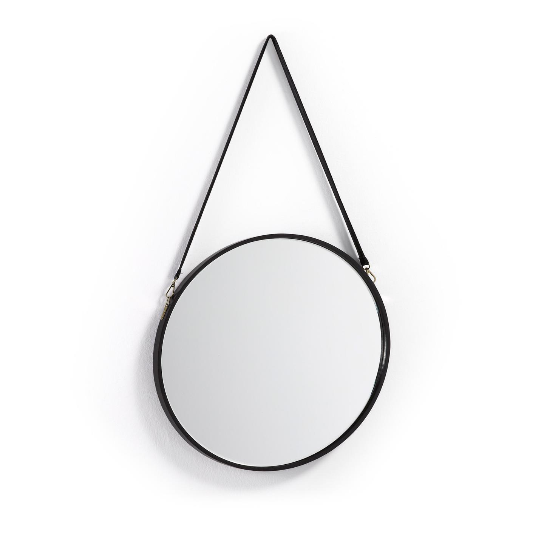Espelho Leroy, madeira/couro, Ø50cm
