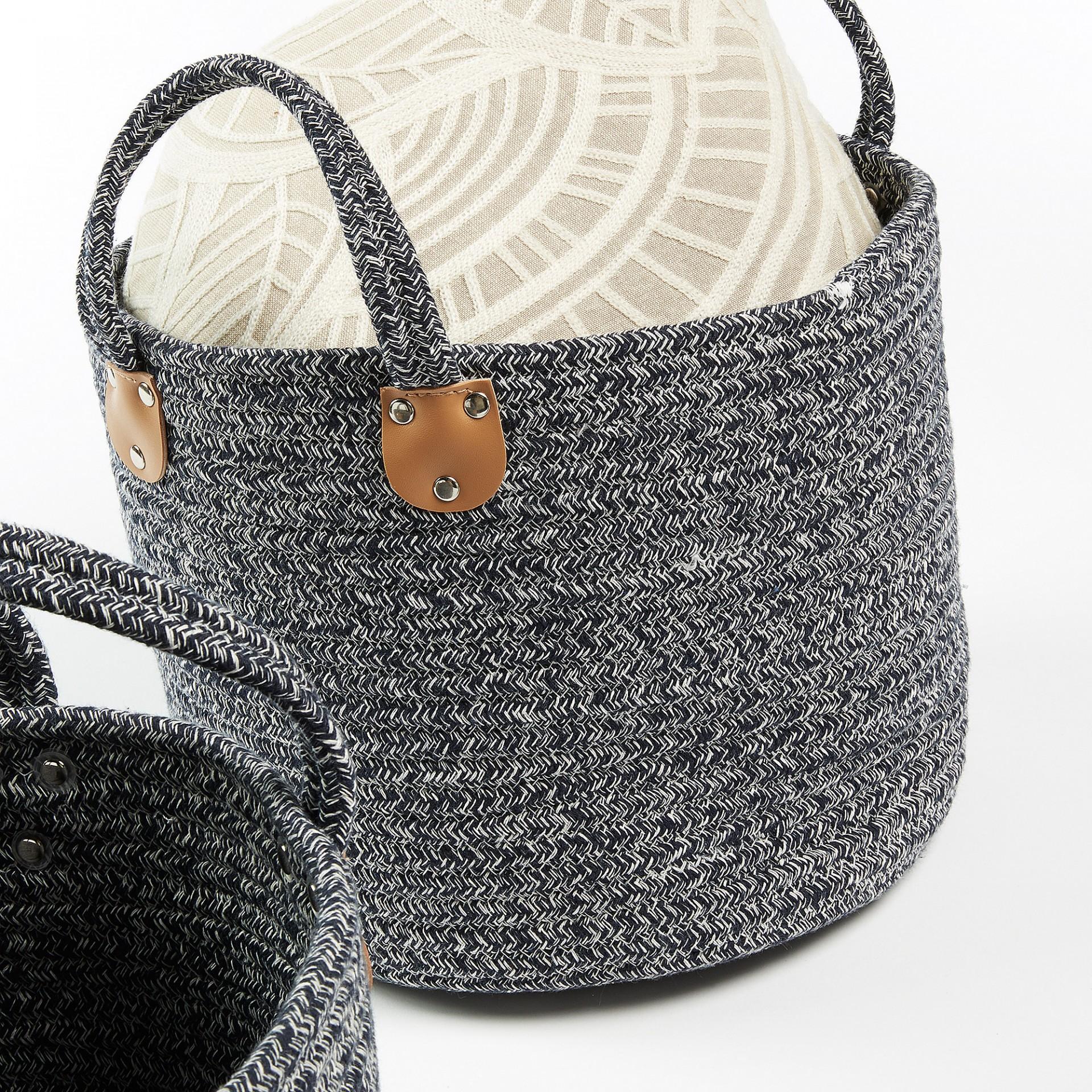 Cestas Wow, corda de algodão, gris, (Conj.3)