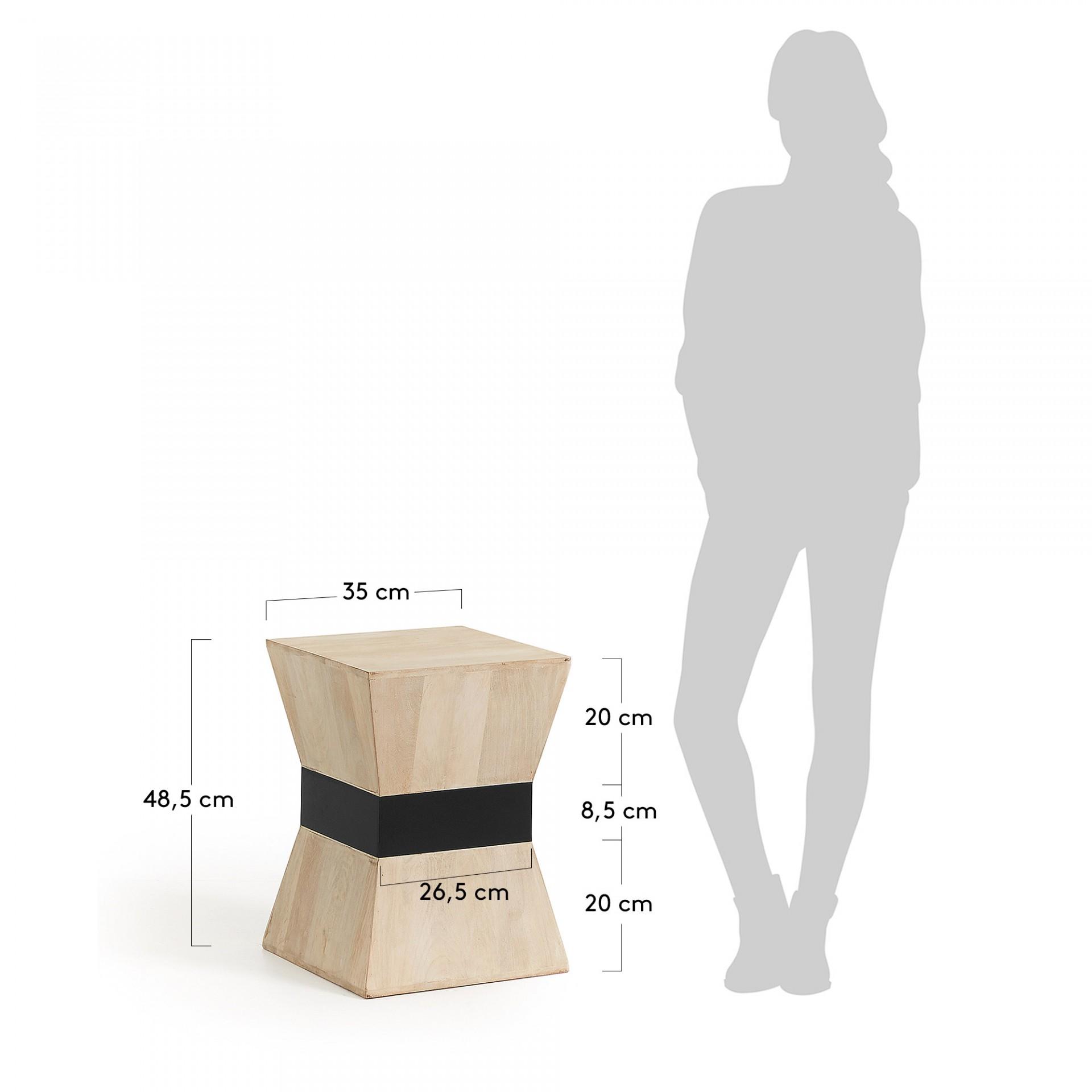 Mesa de apoio Poke, madeira manga natural, 35x35x48,5