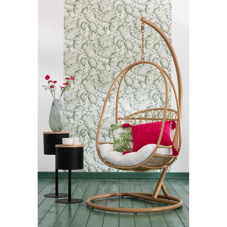 Cadeira suspensa c/base, metal/vime, castanho, 113x103x197