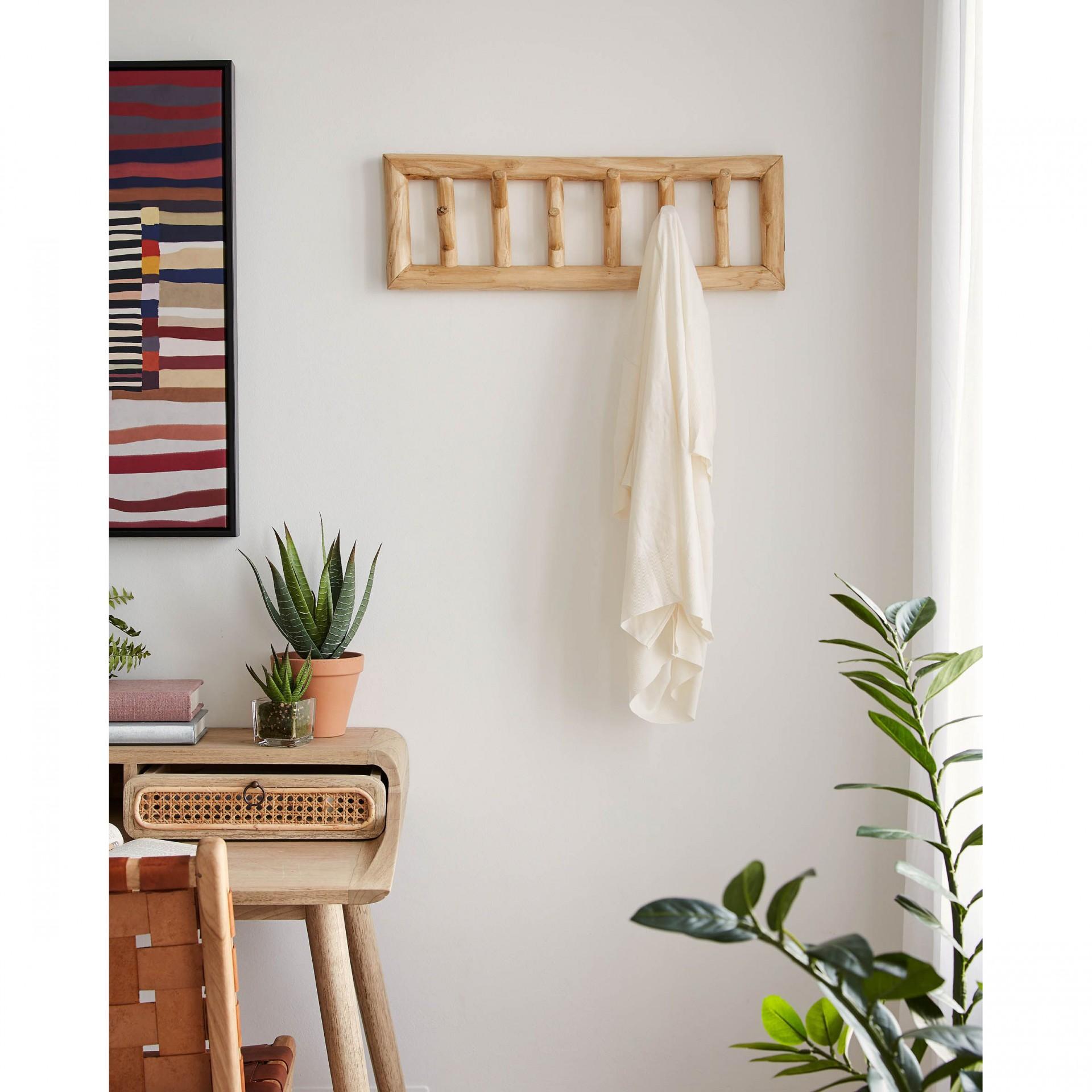 Cabide de parede Thina, madeira teca, 60x20