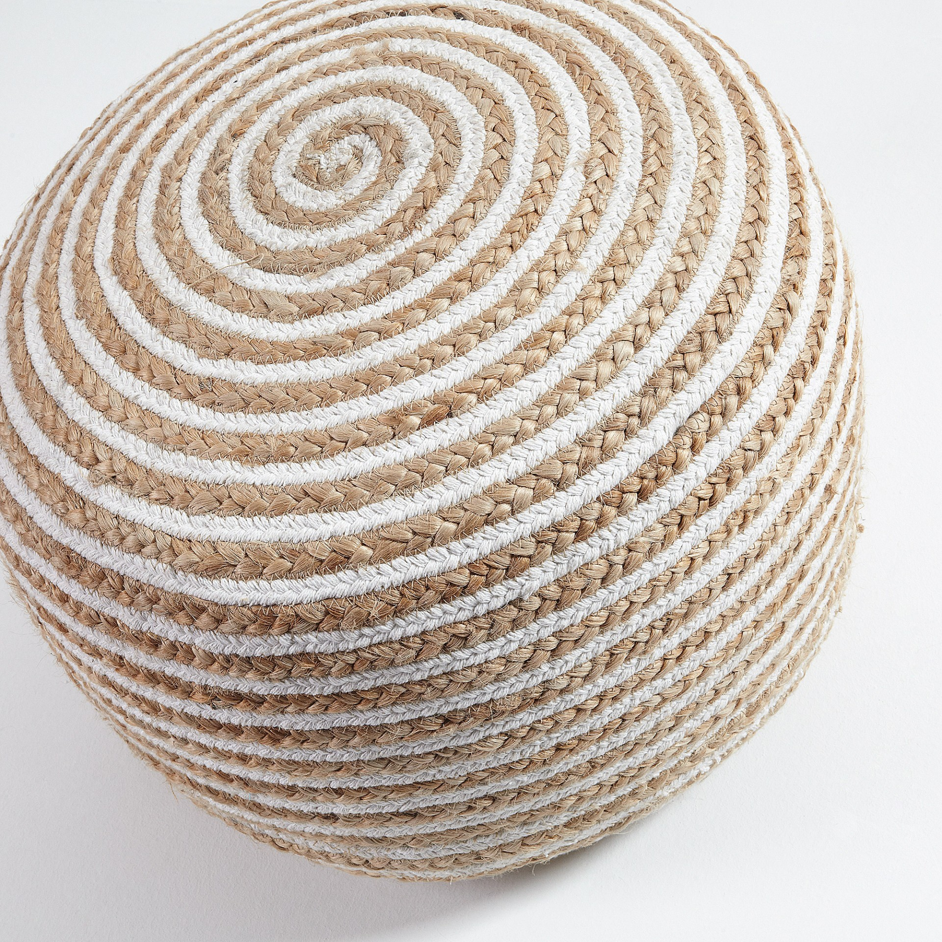 Pufe Sarah, listrado em juta/algodão, Ø50x35