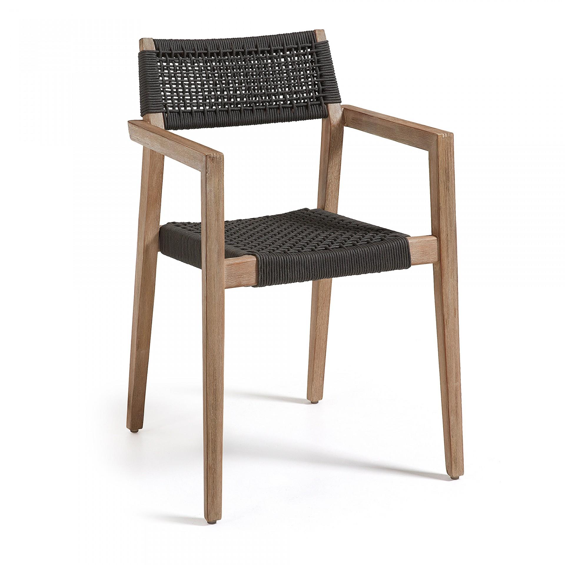 Cadeira Suzy, madeira de acácia/corda poliéster, 57x55x82