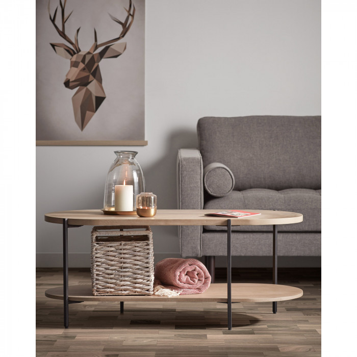 Mesa de centro Palma, madeira de manga natural, 110x55x45